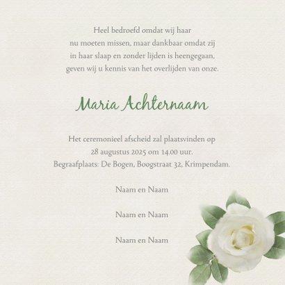 Mooie rouwkaart met rozen op gewassen achtergrond 3