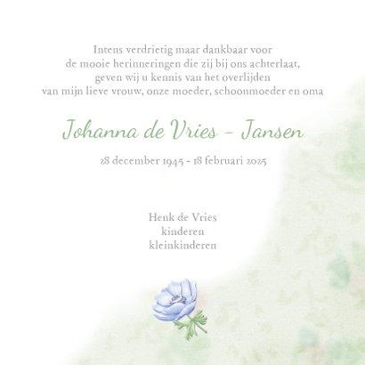 Mooie rouwkaart met takjes en blauwe bloemen 3