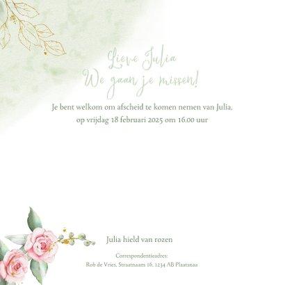 Mooie rouwkaart met takjes en roze roosjes 2
