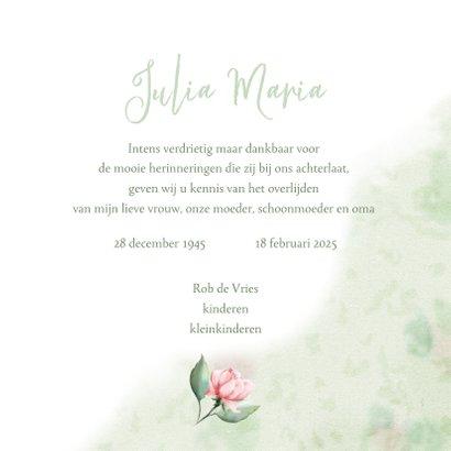 Mooie rouwkaart met takjes en roze roosjes 3