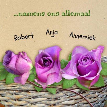 Mooie sterkte kaart met paarse roosjes in mandje 3