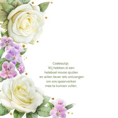 Mooie trouwkaart met rozen en andere bloemen 2