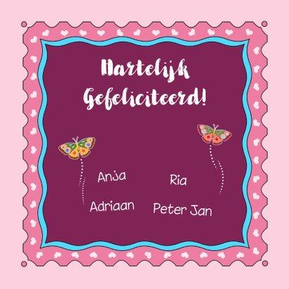Mooie verjaardagskaart met taart en vlinders voor meisje 3