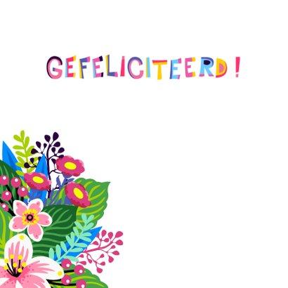 Mooie verjaardagskaart met unicorn en bloemen 2