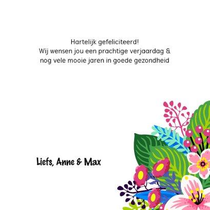 Mooie verjaardagskaart met unicorn en bloemen 3