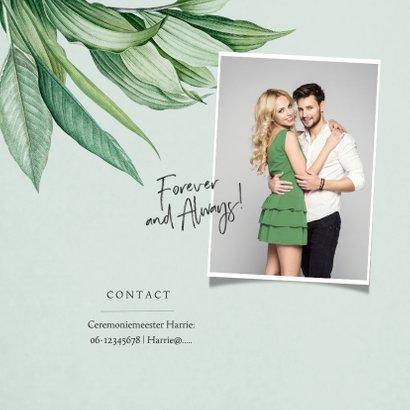 Mr and Mrs trouwkaart botanisch groen bladeren stijlvol 2