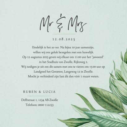 Mr and Mrs trouwkaart botanisch groen bladeren stijlvol 3