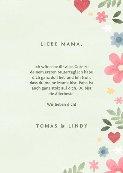 Muttertagskarte pastell mit Foto und Blumen 3