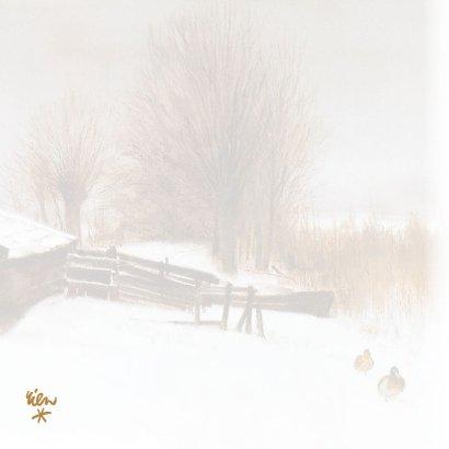 Natuurkerstkaart met wintertafereel 'Eenden in de sneeuw' 2