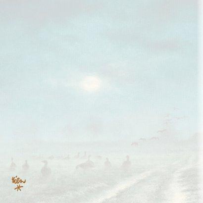 Natuurkerstkaart met wintertafereel 'Ganzen bij maanlicht' 2