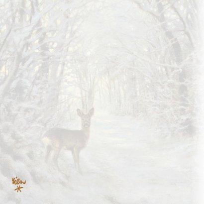 Natuurkerstkaart met  wintertafereel 'Hert in winterbos' 2
