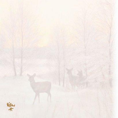 Natuurkerstkaart met wintertafereel 'Hert Zonsondergang' 2
