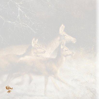 Natuurkerstkaart met wintertafereel 'Herten in donker bos' 2
