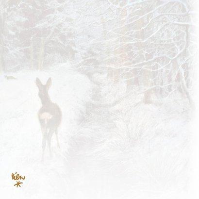 Natuurkerstkaart met wintertafereel 'Hertje bij wintersloot' 2
