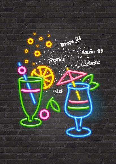 Neon uitnodiging - cocktail time 2