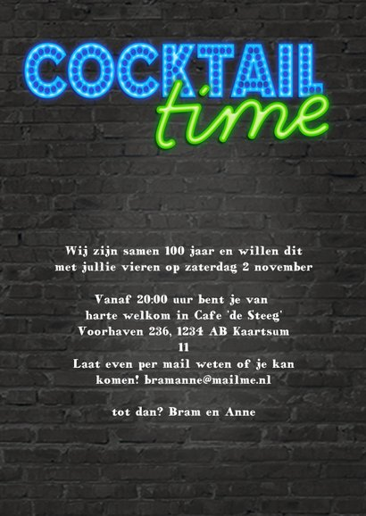 Neon uitnodiging - cocktail time 3