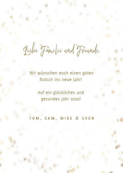Neujahrskarte goldene Sterne, Foto und happy new year 3