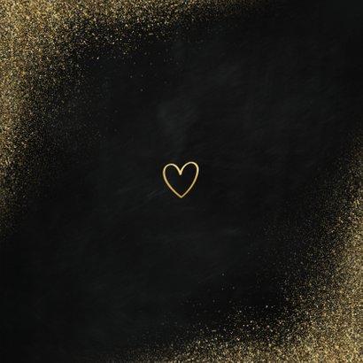 Neujahrskarte Goldlook mit Foto & Herz Rückseite