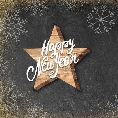 Neujahrskarte Holzstern Kreidelook Happy new year 2