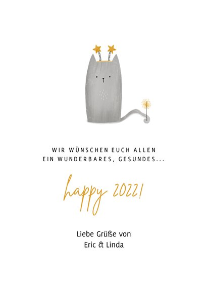Neujahrskarte mit Katze 'Meow Year' 3
