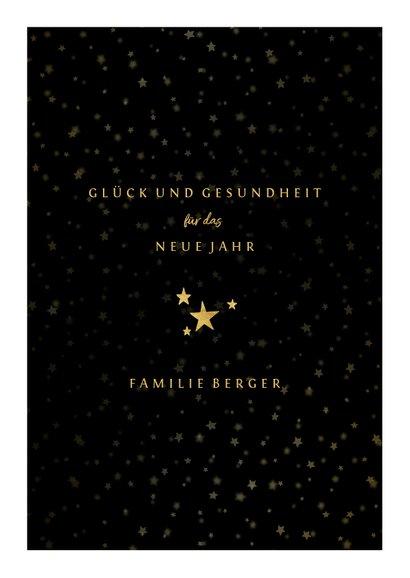 Neujahrskarte mit kleinen Fächern, Fotos und goldener 2020 3