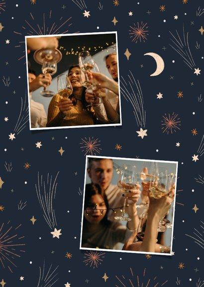 Neujahrskarte mit Mond, Sternen, Feuerwerk & Fotos 2