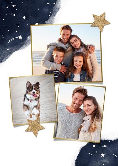 Neujahrskarte mit Wasserfarbe, Foto und Sternen 2