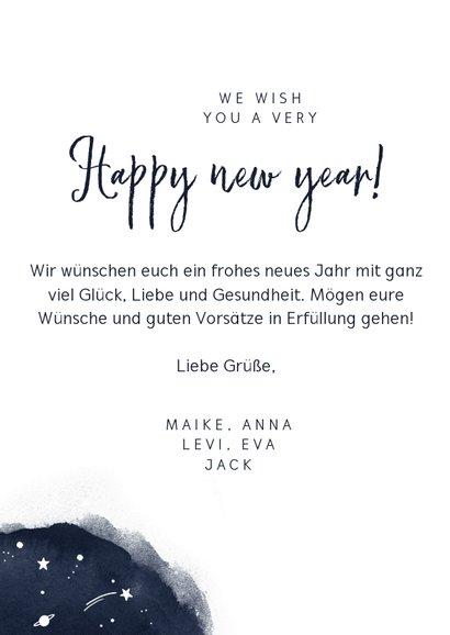 Neujahrskarte mit Wasserfarbe, Foto und Sternen 3