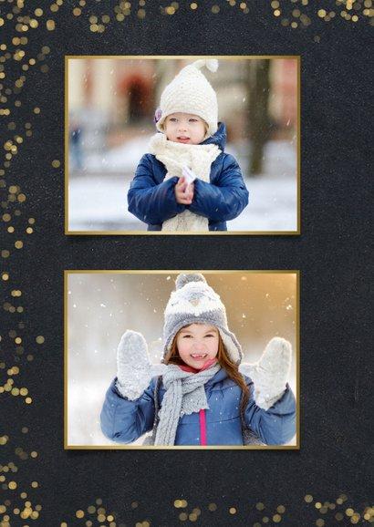 Neujahrskarte schwarz, Konfetti und Fotocollage 2