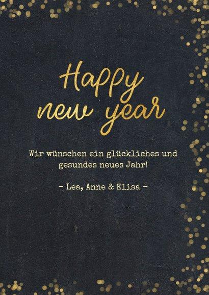 Neujahrskarte schwarz, Konfetti und Fotocollage 3