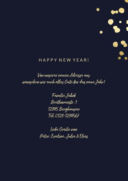 Neujahrskarte zum Umzug goldene Schrift 3