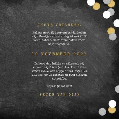 New Date uitnodigingskaart krijtbord en confetti 3
