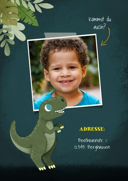 Niedliche Einladung zum Kindergeburtstag mit Dinos und Fotos 2