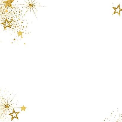Nieuwjaar feestelijke foto kaart met vele gouden sterren 2