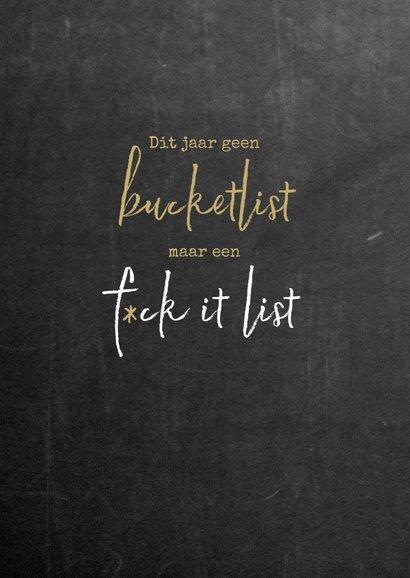Nieuwjaar Geen bucketlist maar een f*ck it list 2
