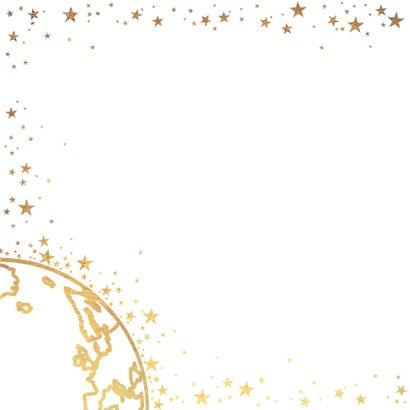 Nieuwjaarskaart goud wereldbol met sterren 2020 2
