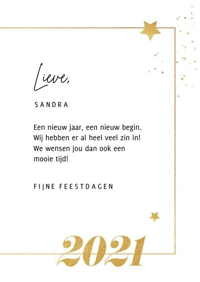 Nieuwjaarkaart typografie goud sterren spetters foto 3