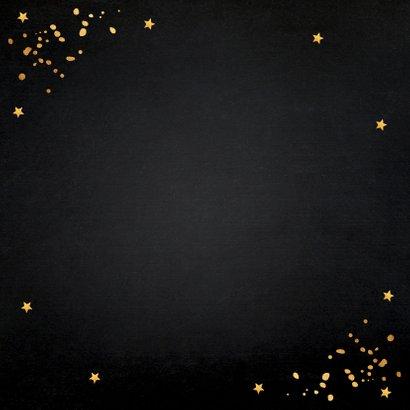 Nieuwjaarsborrel confetti typografie goudlook Achterkant