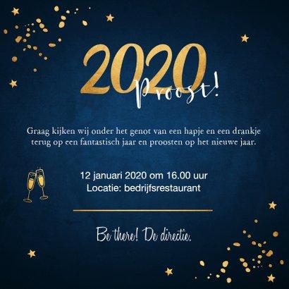 Nieuwjaarsborrel uitnodiging confetti goud 3