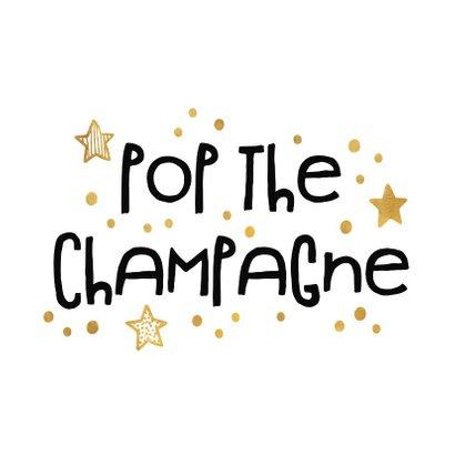 Nieuwjaarsborrel uitnodiging 'pop the champagne' goudlook 2