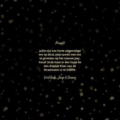 Nieuwjaarsborrel uitnodiging sterren goud 3