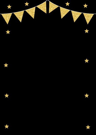 Nieuwjaarsborrel uitnodiging typografie vlaggetjes goudlook 2
