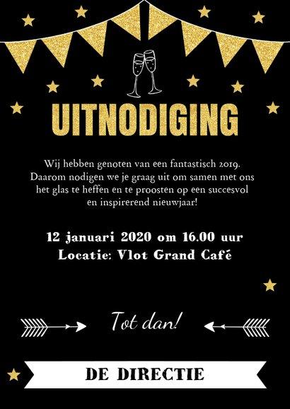Nieuwjaarsborrel uitnodiging typografie vlaggetjes goudlook 3