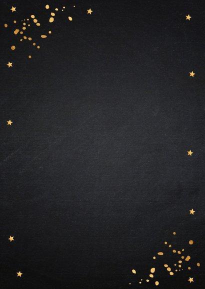 Nieuwjaarsborrel uitnodiging zwart confetti goudlook 2