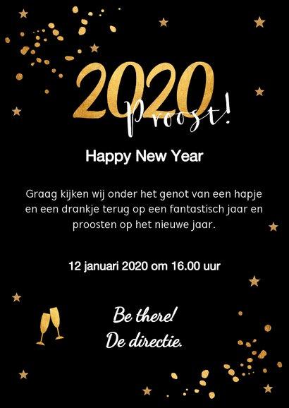 Nieuwjaarsborrel uitnodiging zwart confetti goudlook 3