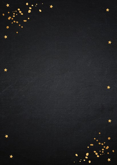 Nieuwjaarsborrel uitnodiging zwart confetti goudlook Achterkant