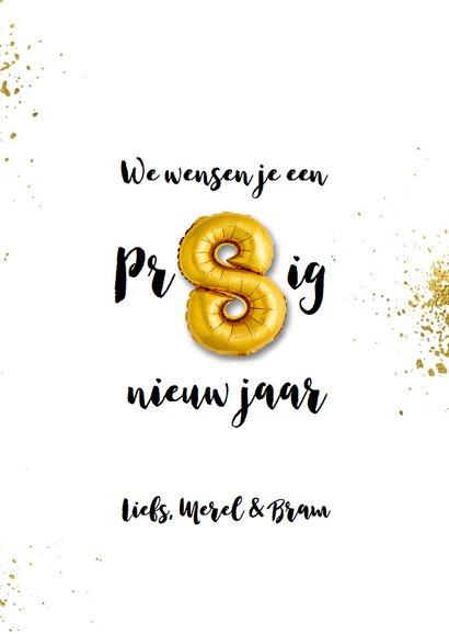 Nieuwjaarskaart 2019 goudspetters en ballonnen 3