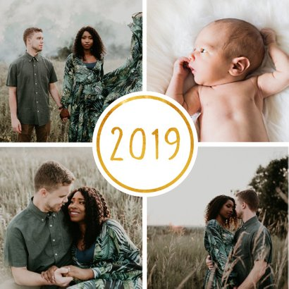 Nieuwjaarskaart '2019' met 4 foto's vierkant 2