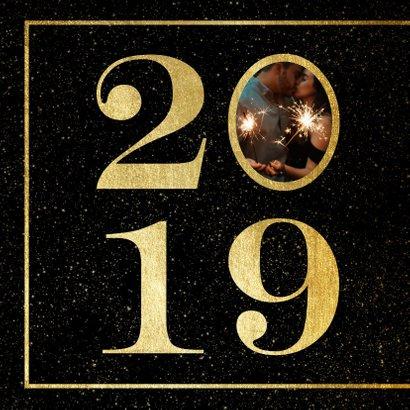 Nieuwjaarskaart 2019 met foto en gouden kader 2