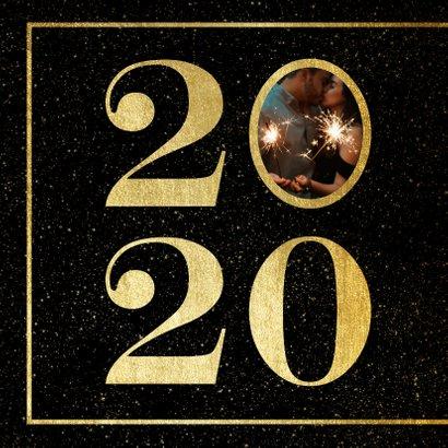 Nieuwjaarskaart 2020 met foto en gouden kader 2
